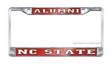 """NC STATE  Wolfpack """"Alumni"""" Chrome Mirrored License Plate / Car Tag Frame"""