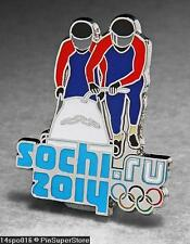 OLYMPIC PINS BADGE 2014 SOCHI RUSSIA CUT OUT SPORT OF BOBSLEDDING (SILVER )