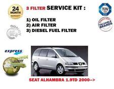 PER SEAT ALHAMBRA 1.9 TD Diesel 2000> NUOVO 3 FILTRI OLIO ARIA Carburante