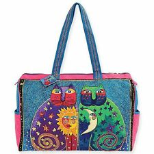 Celestial Felines Laurel Burch Large Canvas Overnight Purse Tote Travel Bag