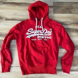 SuperDry Mens Hoodie Medium Red Sweatshirt Japan