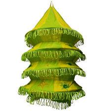 Pantalla lámpara Acordeón verde amarillo limón 50cm algodón patchwork iluminar