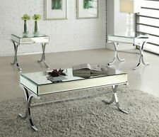 """HomeRoots 42"""" X 21"""" X 19"""" Mirrored Top And Chrome Coffee Table"""