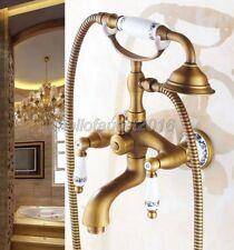 Antique Brass Clawfoot Bath Tub Faucet Telephone Design Handheld Shower Set
