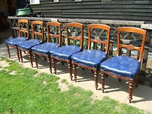 6 Victorian walnut dining chairs in need of recovering