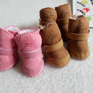 4 PCS Winter Pet Dog Snow Boots Puppy Soft Anti-slip Warm Shoes Thicken Booties