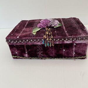 Vintage Raspberry Pink Velvet Kitsch Shabby Chic Jewellery Box.