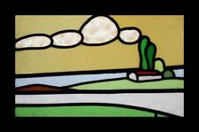 Art Deco House On The Hill English Stained Glass Window With Amazing Clouds