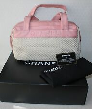 Auth CHANEL Logo Cream Woven Pink Leather Hand Bag Purse Card Box Dust Bag Incld