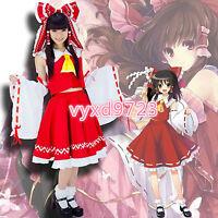 Touhou Project Hakurei Reimu Cosplay Costume Red Mix White Full Set Fold Dress
