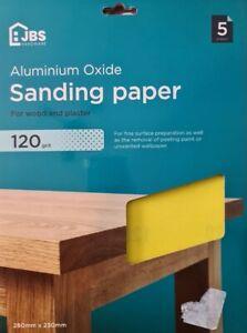 JBS Hardware 120 Grit Sandpaper Pack Of 5 Sheets