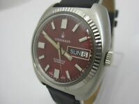 NOS NEW VINTAGE SWISS AUTOMATIC WITH DAY AND DATE ANALOG STRAUMANN MENS WATCH