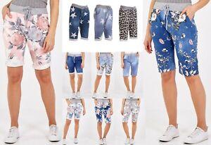 Women's Ladies Italian Floral Rose Printed Turn Up Summer Beach Shorts Pant New