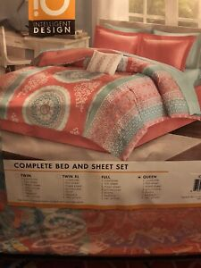 LORETTA Queen Comforter +Sheet Set Orange Pink Coral Teal Bed in a Bag