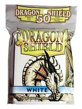 50 PROTECTIVE SLEEVES White Bianco MTG MAGIC Dragon Shield
