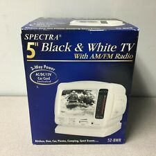 """Spectra 52-BWR 5"""" Black & White Portable TV With AM/FM New Open Box Car Adapter"""
