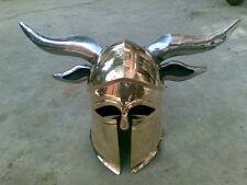 Brass Medieval Viking Barbarian CORINTHIAN Helmet steel horns for cosplays d1