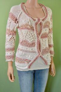 Ex Catalog Women's Pretty Summer Open Knit Cotton Cardigan Size 8
