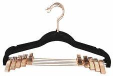 Home Basics Non-Slip Velvet Hanger w Rose Gold Hook Pack of 5 Black - Fh47541