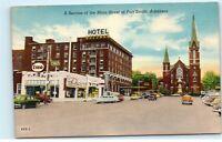 Fort Smith Arkansas Main Street Hotel Goldman Esso Station Vintage Postcard E49