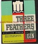 1940s Pennsylvania THREE FEATHERS GIN New York Label
