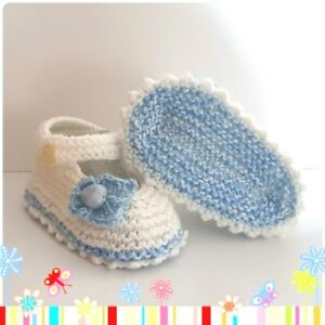 Very Cute Handmade Hand Knitted Baby Mary Jane Style Booties/Shoes  White Blue