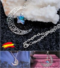 Collar Colgante Luna Estrella Tipo Swarovski Plata Cristal. Ideal para regalo