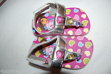 "Toddler Baby Girls DORA SANDALS Silver T Strap Thong PINK HEARTS 1"" Heel S 5-6"