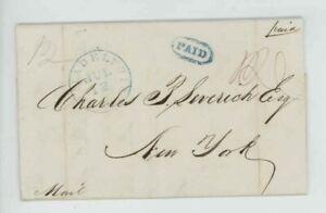 Mr Fancy Cancel Stampless Blue Philadelphia PA New York Paid 1842 FLS #554