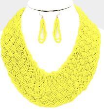 Very Chunky Big Yellow Seed Bead Pearl Multi Layered Bead Necklace Earring