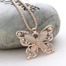 Women Rose Gold Butterfly Pendant Long Necklace Chain