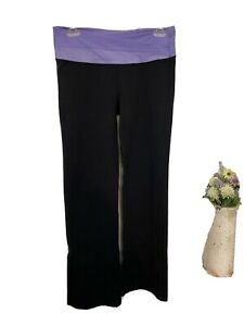 Lululemon 8 Groove Yoga Pants Black & Purple Flare Logo Active Wear