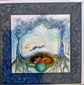 Amanda clark hare greetings card yule equinox solstice tree life fox christmas