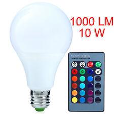 10W E27 RGB LED Birne 16 Dimmbar Licht Lampe Schraube Glühbirne Fernbedienung