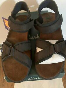 Clarks Active Air Leather  Sandals Mens Sz 15M Brown  Adj Stick Straps $64.90