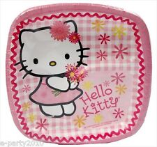 HELLO KITTY Pink Plaid SMALL PAPER POCKET PLATES (8) ~ Birthday Party Supplies