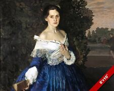 BEAUTIFUL WOMAN IN A BLUE DRESS EVENING & A BOOK PAINTING ART REAL CANVAS PRINT