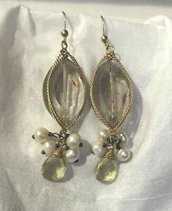 Handmade 14k Gold Filled, Peridot, Fresh Water Pearl Rutilated Quartz Earrings