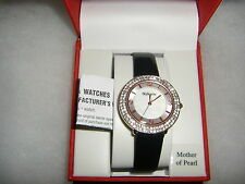 NIB Style & Co.Watch Women's Rose Gold Tone Mother Of Pearl Black Band 48mm $69