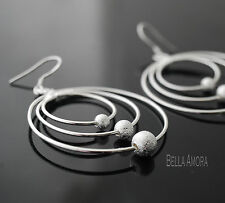 925 Silver Plated Triple Hoop & Stardust Ball Drop Dangle Earrings New - UK 4