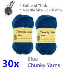 10x Blue Chunky Knitting Yarns Soft Thick Acrylic Thread Ball Wool Crochet Bulk