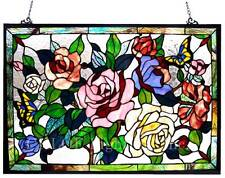 """Stained Glass Chloe Lighting Butterfly & Roses Window Panel 27 X 19"""" Handcrafted"""