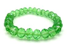 Crystal Faceted Rondelle Glass Bead Stretch Bracelet Green