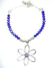 SPARKLY FACETTED BRIGHT SAPPHIRE BLUE GLASS BEAD NECKLACE WITH DAISY DROP
