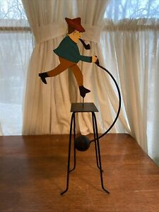 Folk Art Man with pipe Teeter Totter Tin Metal Balance Toy Pendulum Kinetic
