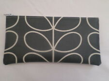 HANDMADE OILCLOTH PENCIL CASE - ORLA KIELY COOL GREY LINEAR STEM FABRIC