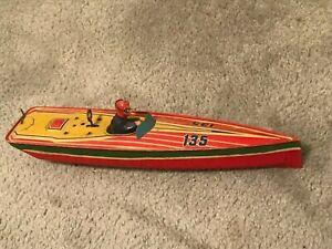 "Lindstrom Windup Speed/Racing Boat 14"" Length-Vintage Toy"