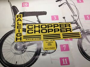 RALEIGH CHOPPER Mk1 complete decal sticker set with CORRECTLY SIZED FONTS