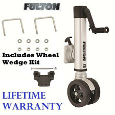"FULTON F2 TRAILER JACK 1600 lbs TWIN TRACK BOLT-ON 10"" LIFT W/ WHEEL WEDGE KIT"