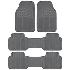 Gray 4 PC All Weather Heavy Duty 3 Row Trimmable Truck SUV Rubber Floor Mats